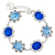 Liz Claiborne® Blue Stone Silver-Tone Flower Flex Bracelet