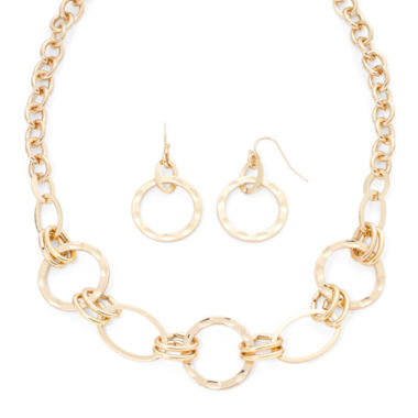 jcpenney.com | Liz Claiborne® Hammered Gold-Tone Necklace and Earring Set