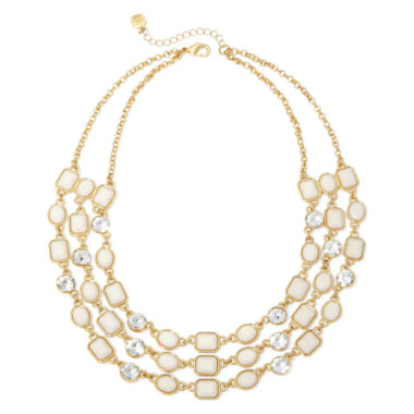jcpenney.com | Monet® White Stone Gold-Tone Triple-Row Necklace