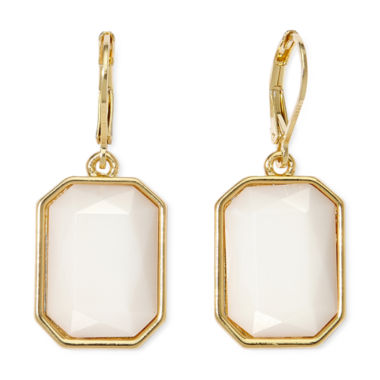 jcpenney.com | Monet® White Stone Gold-Tone Drop Earrings