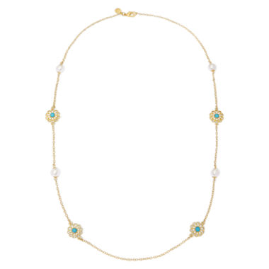 jcpenney.com | Monet® Simulated Pearl and Aqua Stone Station Necklace