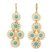 Monet® Simulated Pearl and Aqua Stone Gold-Tone Chandelier Earrings