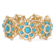 Monet® Simulated Pearl and Aqua Stone Gold-Tone Stretch Bracelet
