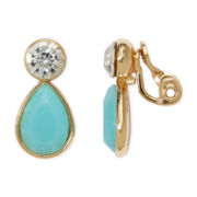 Monet® Aqua Stone and Crystal Gold-Tone Clip-On Earrings