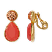 Monet® Orange Stone and Crystal Gold-Tone Clip-On Earrings