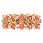 Monet® Orange Gold-Tone Stretch Bracelet