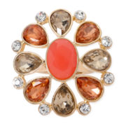 Monet® Orange Stone and Crystal Gold-Tone Flower Stretch Ring