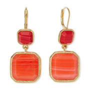 Monet® Orange Stone Gold-Tone Double-Drop Earrings