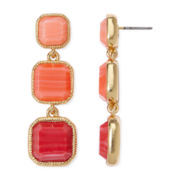Monet® Orange Tone Gold-Tone Linear Earrings