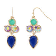 Liz Claiborne® Multicolor Stone Gold-Tone Chandelier Earrings