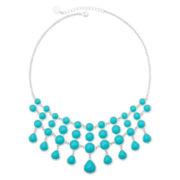 Liz Claiborne® Silver-Tone Aqua Collar Necklace