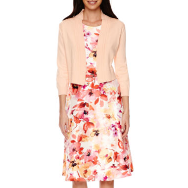 jcpenney.com | Black Label by Evan-Picone 3/4 Sleeve Shrug Sweater or Seam Fit-and-Flare Belted Floral Dress