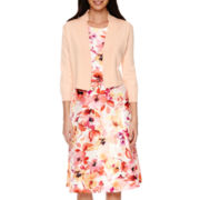 Black Label by Evan-Picone 3/4 Sleeve Shrug Sweater or Seam Fit-and-Flare Belted Floral Dress