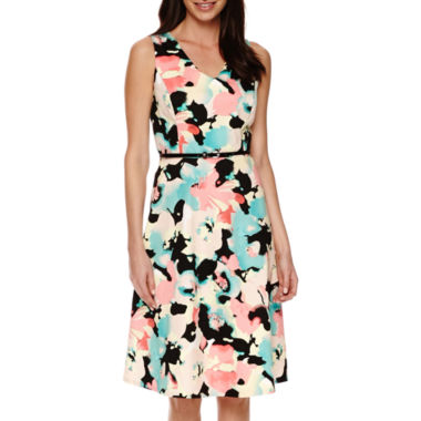 jcpenney.com | Black Label by Evan-Picone Sleeveless Belted Fit-and-Flare Dress