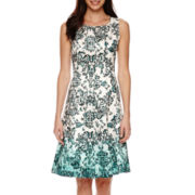 Black Label by Evan-Picone Sleeveless Floral Ombre Fit-and-Flare Dress