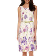 Black Label by Evan-Picone Sleeveless Floral Belted Sheath Dress