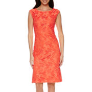Black Label by Evan-Picone Cap-Sleeve Floral Lace Sheath Dress