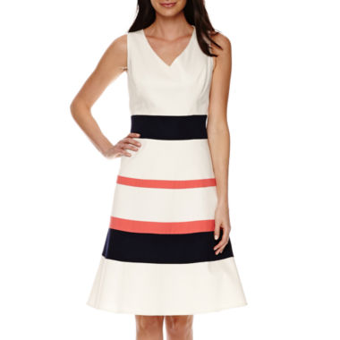 jcpenney.com | Black Label by Evan-Picone Sleeveless Stripe Fit-and-Flare Dress