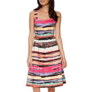 Black Label by Evan-Picone Sleeveless Striped Fit-and-Flare Dress