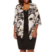 Maya Brooke 3/4-Sleeve Duster Jacket Dress - Plus