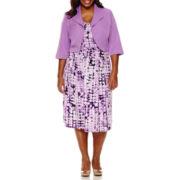 Maya Brooke 3/4-Sleeve Fit-and-Flare Jacket Dress - Plus