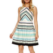 Danny & Nicole® Sleeveless Textured Fit-and-Flare Dress - Petite