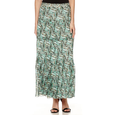 jcpenney.com | Black Label by Evan-Picone Print Tiered Maxi Skirt