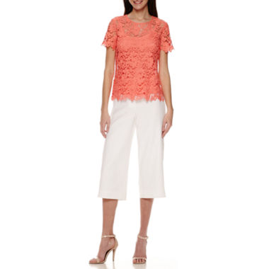 jcpenney.com | Liz Claiborne® Short-Sleeve Lace Tee or Wide-Leg Cropped Pants - Tall