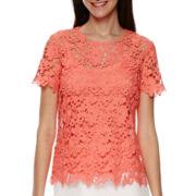 Liz Claiborne® Short-Sleeve Lace Tee - Tall