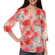 Liz Claiborne® 3/4-Sleeve Butterfly-Back Shirt - Tall