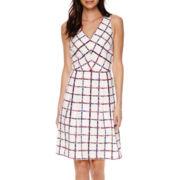 Liz Claiborne® Sleeveless Window Pane Print Fit-and-Flare Dress