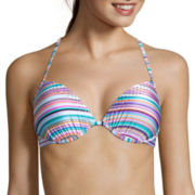 Arizona® Faded Rose Striped Push-Up Halter Swim Top