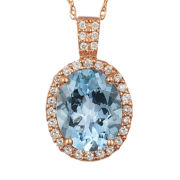 Le Vian® Grand Sample Sale Genuine Aquamarine 14K Rose Gold Pendant