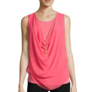 By & By Sleeveless Drape-Front Necklace Top