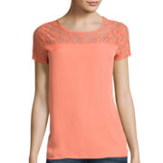 Heart & Soul® Short-Sleeve Lace Yoke Top