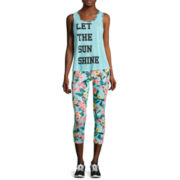 Self Esteem® Envelope Back Tank Top or Botanical Print Performance Cropped Leggings