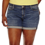 Arizona Roll-Cuff Denim Shorts - Juniors Plus