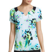 Worthington® Short-Sleeve Pleated-Neck Blouse - Petite