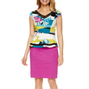 Worthington® Cap-Sleeve Mesh Inset Peplum Blouse or Sateen Pencil Skirt