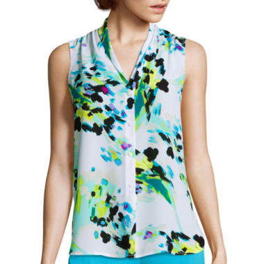 jcpenney.com | Worthington® Sleeveless V-Neck Button-Front Blouse - Petite