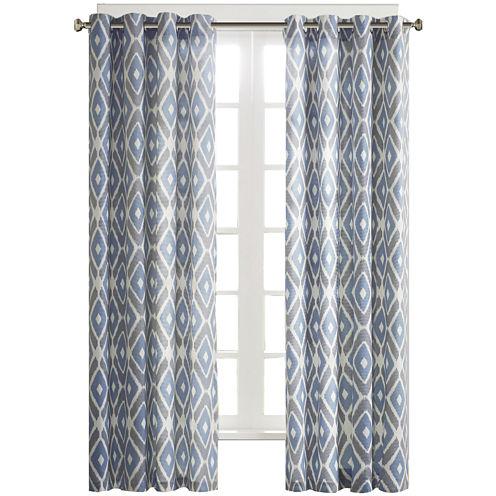 Stetsen Diamond-Printed Grommet-Top Curtain Panel