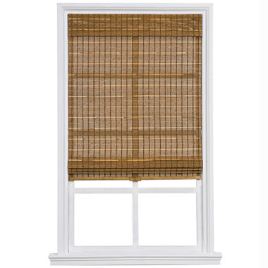 custom cordless bamboo and jute rope roman shade jcpenney. Black Bedroom Furniture Sets. Home Design Ideas