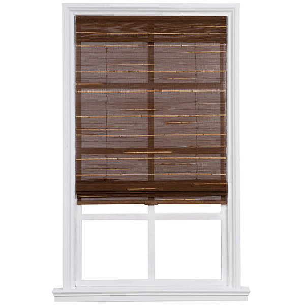 custom cordless textured bamboo and reed roman shade jcpenney. Black Bedroom Furniture Sets. Home Design Ideas