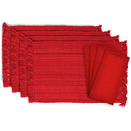 Design Imports Fringe Variegated Set of 4 Placemats and 4 Napkins