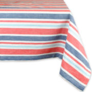 Design Imports Patriotic Stripe Cotton Tablecloth