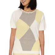 Alfred Dunner Short-Sleeve Colorblock Sweater