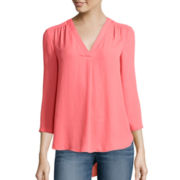 a.n.a® 3/4-Sleeve V-Neck Woven Blouse