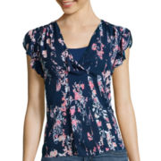 a.n.a® Short-Sleeve Flutter V-Neck Top