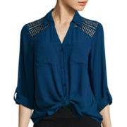 Alyx® Roll-Tab Sleeve Lace Shoulder Button-Front Shirt