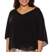 Bisou Bisou® Cape-Sleeve Top - Plus
